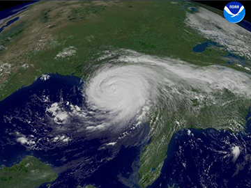 A satellite image of hurricane katrina in the Gulf of Mexico